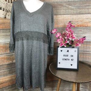 ELLOS Crochet SILVER 2x SWEATER DRESS